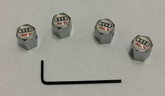 AUDI CHROME TYRE VALVE CAPS ANTI THEFT SET OF 4