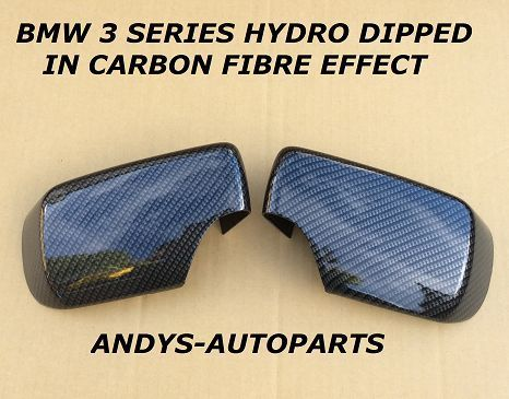 BMW 3 SERIES E46 01 - 05 PAIR OF WING MIRROR COVER L/H & R/H  CARBON FIBRE EFFECT (1)