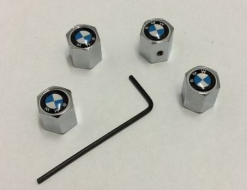BMW CHROME SET OF FOUR ANTI THEFT TYRE VALVE CAPS