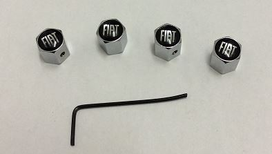 FIAT CHROME SET OF FOUR ANTI THEFT TYRE VALVE CAPS