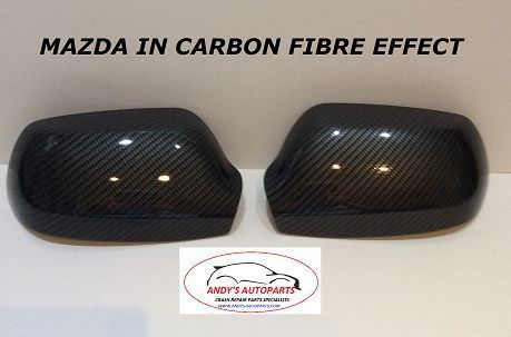 MAZDA 3 PAIR OF WING MIRROR COVERS 2004 - 2009 LH & RH IN CARBON FIBRE STYLE