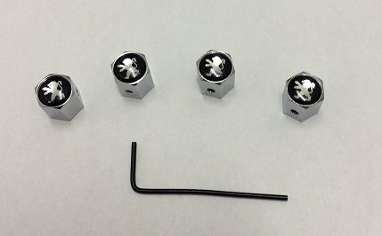 PEUGEOT SET OF FOUR CHROME ANTI THEFT TYRE VALVE CAPS