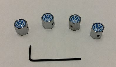 VOLKSWAGEN CHROME TYRE VALVE CAPS ANTI THEFT SET OF 4.