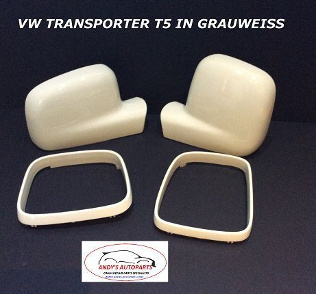 VOLKSWAGEN TRANSPORTER T5  PAIR WING MIRROR COVERS + TRIMS 03 -2010 IN GRAUWEISS